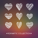 Set of Stylized Hand-drawing Ornamentation Hearts. Creative Romantic Collection Stock Photo