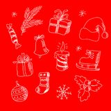 A set of stylized hand-drawn New Year elements Royalty Free Stock Images