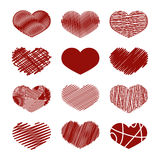 Set of Stylized hand-drawn Scribble Hearts Icons. Childlike, Den. Se, Loose, Moir, Sharp, Sketch, Snare, Swash, Tight, Zig-Zag, Scrappy, Doodle, Cartoon, Comics Stock Image