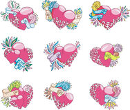 Set of stylized hearts. Color vector illustrations Stock Photos