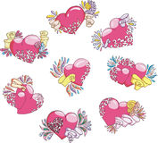 Set of stylized hearts. Color vector illustrations Royalty Free Stock Image