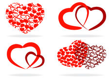 Set of stylized hearts Royalty Free Stock Photo