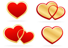 Set of stylized hearts Stock Images