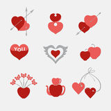 Set of stylized hearts. Heart valentine icon. Red and pink heart shapes on a light background Stock Photos