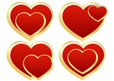 Set of stylized hearts Stock Photography