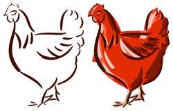 Set of stylized hen isolated Royalty Free Stock Photography