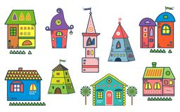Set of the stylized houses. Ten fantastic lodges, fabulous pictures for children. It can be used for websites, children`s magazines and advertisment. Vector Stock Photos