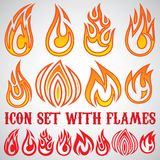 Set of stylized icons with flames Royalty Free Stock Photography