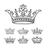 Set of stylized images of the crowns. Vector icons Royalty Free Stock Photography