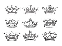 Set of stylized images of the crowns. Royalty Free Stock Photo