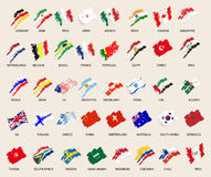 Set of stylized images of 40 flags. vector illustration Royalty Free Stock Photo