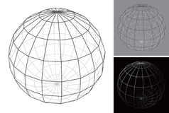 Set of stylized images of globe in form of wire mesh Royalty Free Stock Photos