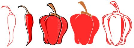 Set of stylized isolated red peppers. Illustration representing a set of red peppers in a stylized version. An idea that can be used in all project about this Stock Images