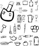 Set of stylized kitchen stuff. Set of kitchen stuff in doodle style Royalty Free Stock Image