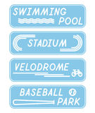 Set of Stylized Minimal Flat Signs with Sport Venues Names Stock Photography