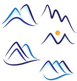 Set of stylized mountains logos Royalty Free Stock Images