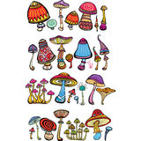 Set of stylized mushrooms Stock Image