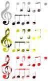Set of stylized Music notes isolated Stock Image