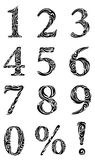 Set of stylized numbers. Et of stylized black vector numbers Royalty Free Stock Image