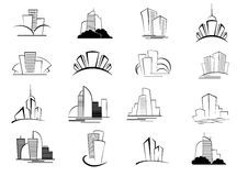 Set of stylized outline building icons Stock Images
