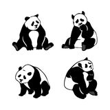 Set of stylized panda bears, vector silhouettes. Royalty Free Stock Photography