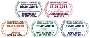 Set of stylized passport stamps for major South African airports. In vector format royalty free illustration