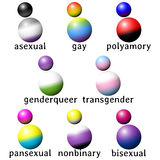 Set of stylized people icons with queer flag colors Stock Image