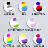 Set of stylized people icons with queer flag colors Stock Photography