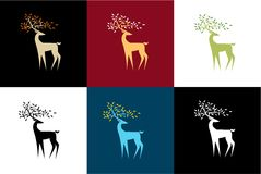 Set of  stylized reindeer in a different color scheme. An interesting pattern Royalty Free Stock Photography