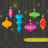 Set of stylized retro christmas tree ornaments. Vector design elements for holiday greeting cards, banners, invitations Royalty Free Stock Images