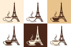Set of stylized silhouette of the Eiffel Tower and. A cup of coffee or tea on different backgrounds. Element of logo or corporate identity Royalty Free Stock Photography