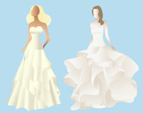 Set  of stylized silhouettes of a bride in her weddi Royalty Free Stock Photo