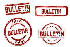 Set of stylized stamps showing the term bulletin Royalty Free Stock Photo