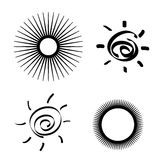 Set of stylized sun Royalty Free Stock Photography