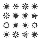 Set of stylized sun logotype. Icon of sun, star, flower. Isolated black logo on white background. Royalty Free Stock Photography