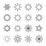 Set of stylized sun logotype. Line icon of sun, star, flower. Isolated black outline logo on white background. Set of stylized sun logo. Line icon of sun, star Stock Images