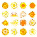 Set of stylized sun over white. Big set of different stylized yellow, orange and red sun isolated on white background. Elements of design, objects for icons Stock Image