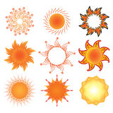 Set of stylized sun symbols Stock Image