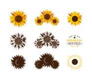 Set of stylized sunflowers stock photography