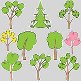 Set of stylized trees, scribble Royalty Free Stock Photography