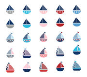 Set of stylized vector boats. Vector collection of sailing boats isolated on white Royalty Free Stock Images