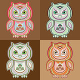 Set of stylized vector colorful owls Royalty Free Stock Photo