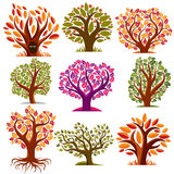 Set of stylized vector trees with green and orange leaves, ecolo. Gy art decorative symbols collection. Two eyes of an animal looking from hollow, graphic design royalty free illustration