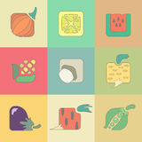 Set of stylized vegetables flat icons  on Stock Photos