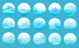 Set of the stylized waves Royalty Free Stock Images
