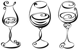 Set stylized wine glass Stock Photo