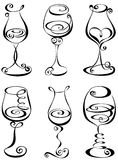 Set Stylized Wine Glass Stock Images