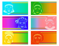 Set of stylized women face images to the National Women of Color Day Royalty Free Stock Photos