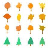 Set stylizowanej płaskiej jesieni drzewne ikony, wektorowa ilustracja, iso Zdjęcia Stock