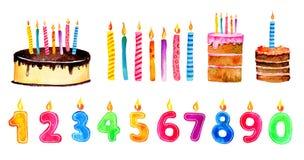 Set stylizowani urodzinowi elementy Ręki rysować kreskówek świeczki i torty akwareli nakreślenia ilustracja ilustracja wektor